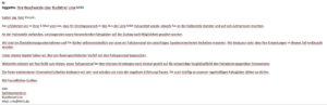La mail di risposta della BVG