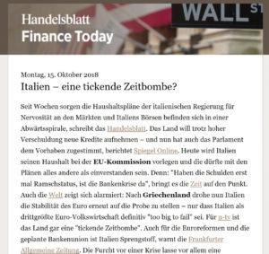 Handelsblatt - Italia una bomba ad orologeria