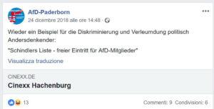 Il post di Facebook della sezione di AfD