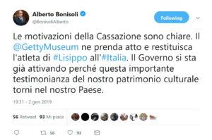 Il tweet del ministtro Bonisoli