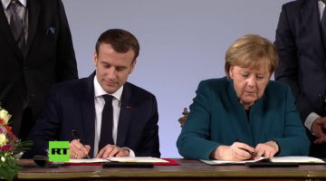 Aquisgrana Merkel-Macron © Youtube Rt Deutsch