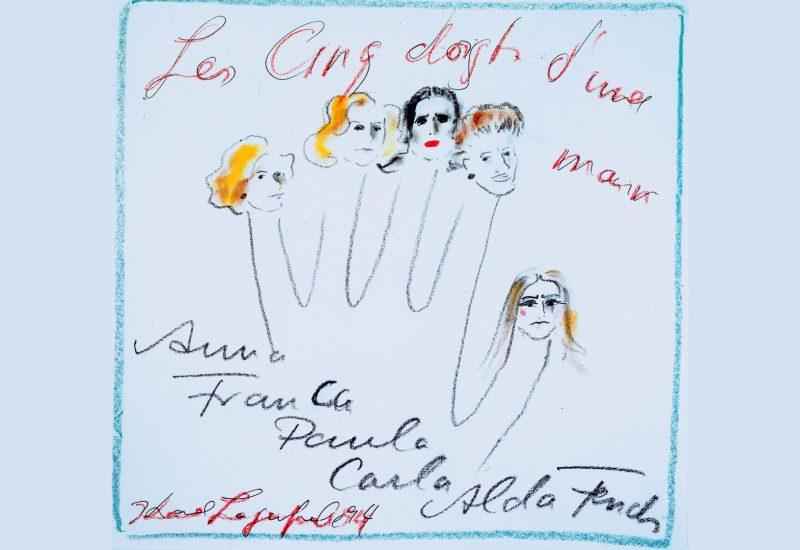 Karl Lagerfeld disegna le mani delle sorelle Fendi