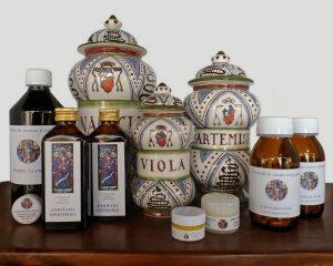 Vasi da farmacia e prodotti dei benedettini