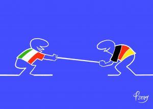 """Italia-Germania (ispirata a Cavandoli) © Paolo Calleri per """"il Deutsch-Italia"""""""