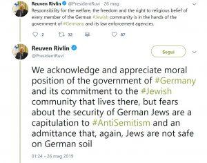 Il tweet del Presidente israeliano Rivlin