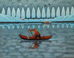 Barcaiolo con cane - Serafino Valla