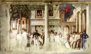 Andrea Mantegna, Martirio e trasporto di san Cristoforo, cappella Ovetari, Padova