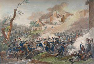 Pierre Adrien Le Beau, Battaglia di Lipsia, incisione da un disegno di Thomas Charles Naudet