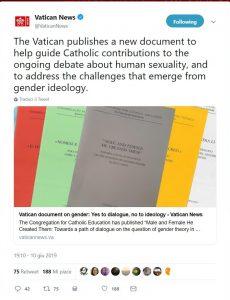 Il tweet del Vaticano