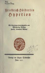 Hölderlin Hyperion 1911