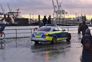 La polizia al mercato del pesce di Amburgo