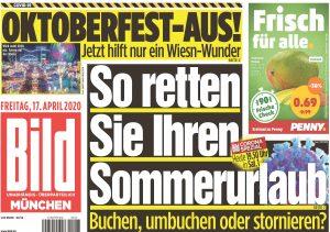 """La prima pagina della """"Bild Zeitung"""""""
