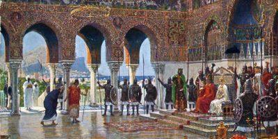 Il Cancelliere aulico ricevuto alla corte di Federico II, a palazzo della Favara di Palermo - Diemer Hofhaltunga