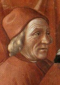 Marsilio Ficino nell'Annuncio dell'angelo a Zaccaria del Ghirlandaio particolare